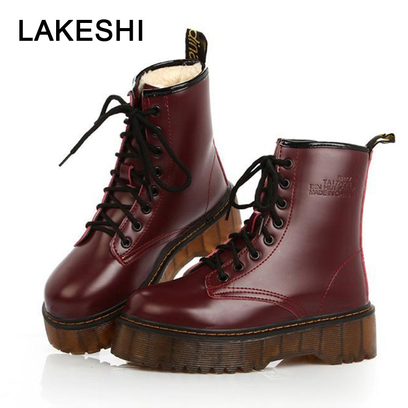 LAKESHI Women Shoes Punk Ankle Boots Women PU Leather Ankle Boots Women Autumn Winter Platform Ankle Boots Female Plush Boots