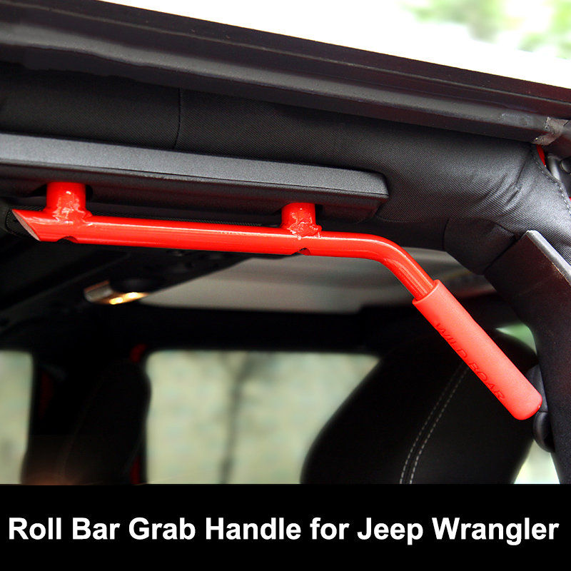 New Red Roll Bar Grab Handles For Jeep Wrangler Jk 4 Doors