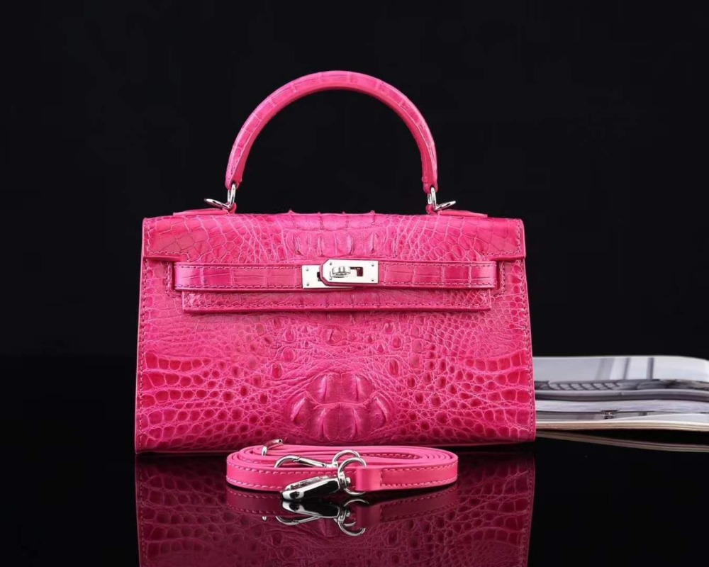 Hot selling luxury quality 100% real genuine crocodile skin women shouder bag pink blue crocodile head skin lady bag small size