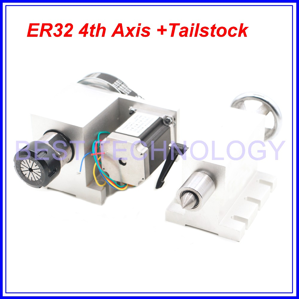 ER32 Chunk 4th Axis+Tailstock CNC Dividing Head Rotation 6:1 Axis/ A Axis Kit For Mini CNC Router Wood Working Engraving