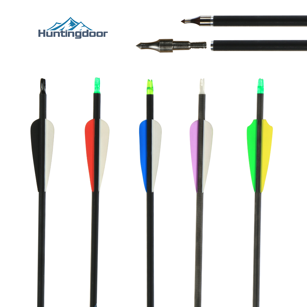 6/12/24 Pcs Mixed Carbon Arrow <font><b>30</b></font> Inches Spine <font><b>500</b></font> Diameter for Compound/Recurve Bow and Arrow Archery Hunting Shooting image