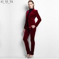 Для женщин Брючные костюмы для женщин пользовательские бизнес леди Костюмы ПР деловой костюм Зима Высокое качество бархат в западном стиле