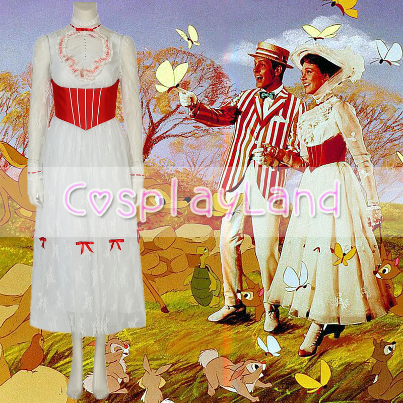 Mary Poppins Dress Carnival Halloween Costumes Fancy Women White Dress Cosplay Mary Poppins Costume Hat Custom made Dress