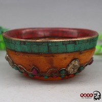 Antique amber inlaid with natural green turquoise coral Tibetan Buddhist bowl collection craft gift