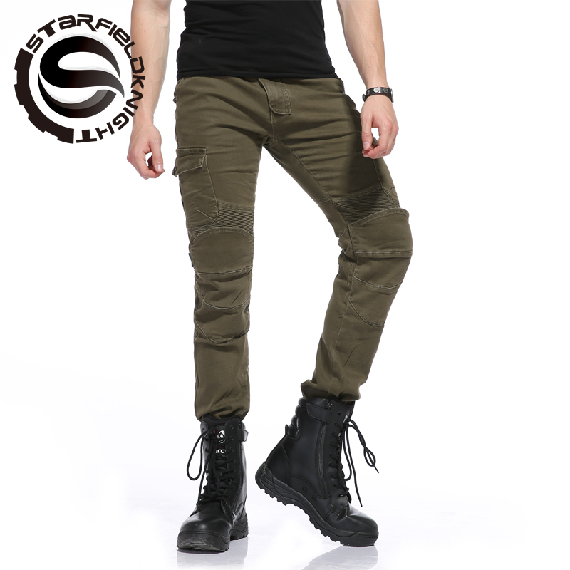 New Star Field Knight Motorcycle wrestling, riding jeans, motorcycle rider pants protection, handsome army green pants