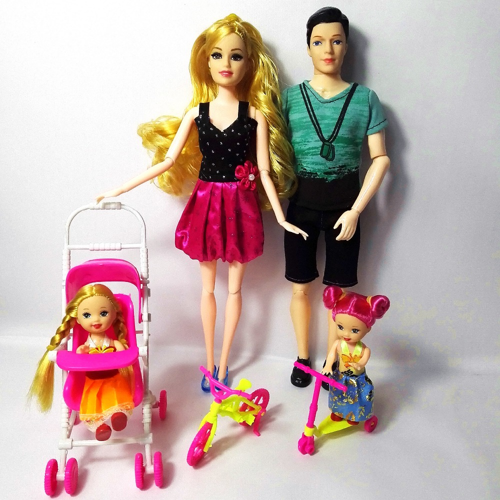 Toys Family 4 People Dolls Suits 1 Mom /1 Dad /2 Little Kelly Girl /1mini bicycle/1 Baby Carriage For Barbie doll Girls Gift