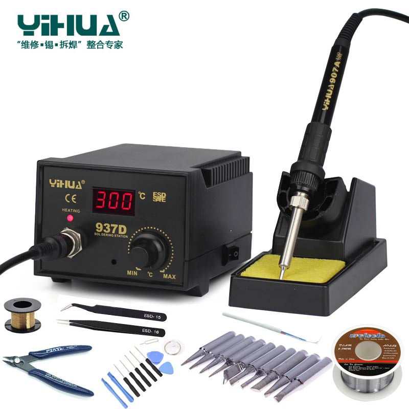 Newest 220V/110V EU/US 50W Temperature Control ESD Digital Soldering Station / Rework Stations YIHUA 937D with many gift 220v 50w yihua 937 soldering station with extra free hakko a1321 ceramic heater