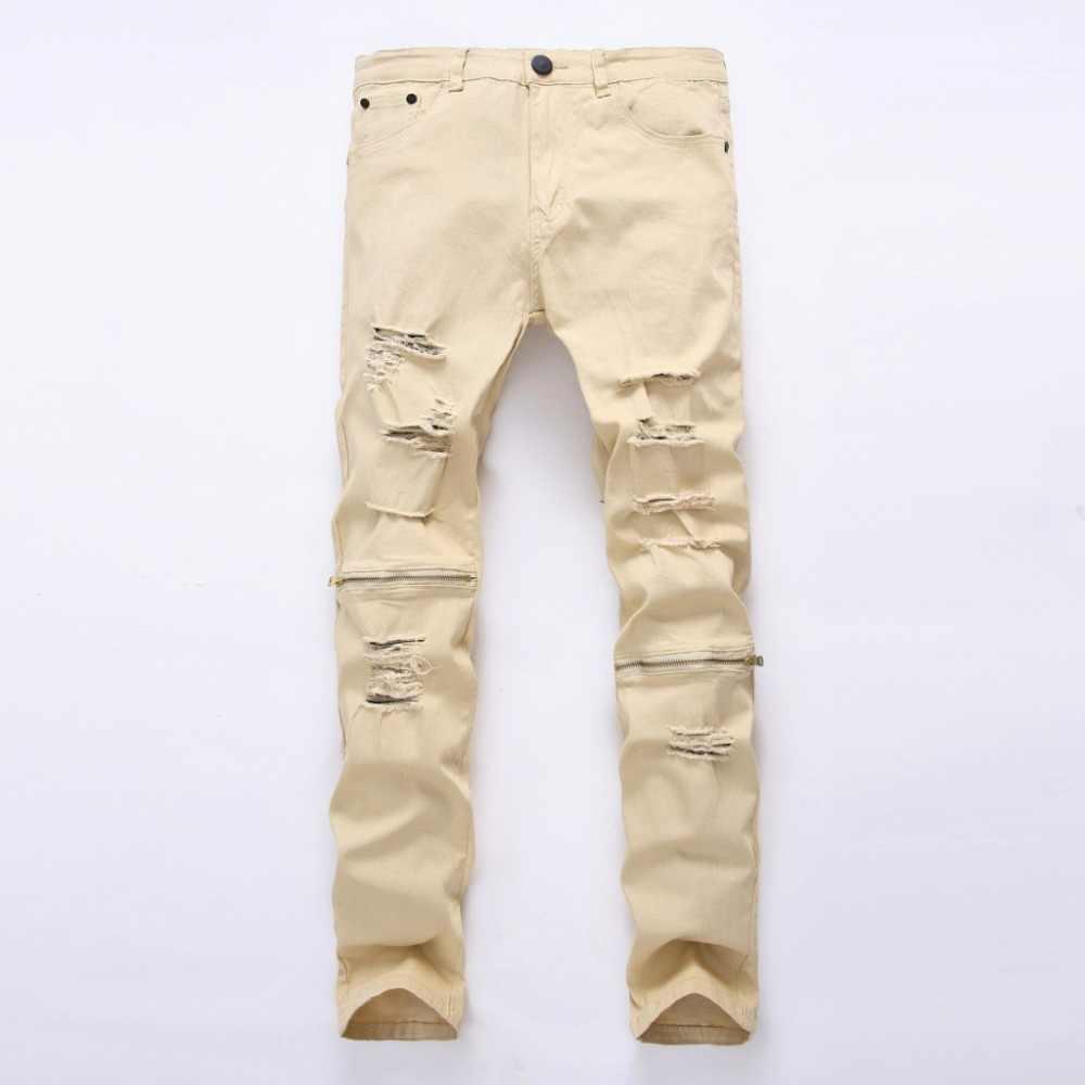 Kolana zamek zgrywanie mężczyźni Biker Jeans jeansy w trudnej sytuacji dżinsy Skinny Punk spodnie jeansowe męskie zielony szary 6 kolor dżinsy mężczyźni plus rozmiar 42