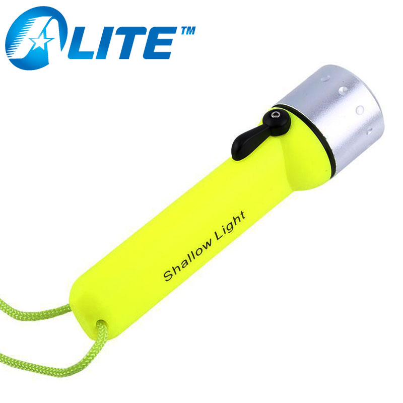 Professional 3W Powerful LED Light On/Off Rotary switch 4*AA Battery Waterproof LED Underwater Diving Flashlight