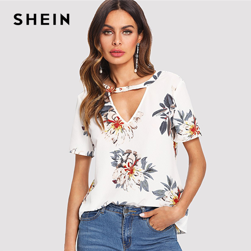 SHEIN V Cut Neck Keyhole Back Floral Top 2018 Summer V Neck Short Sleeve Print Blouse Women White Casual Cut Out Floral Blouse