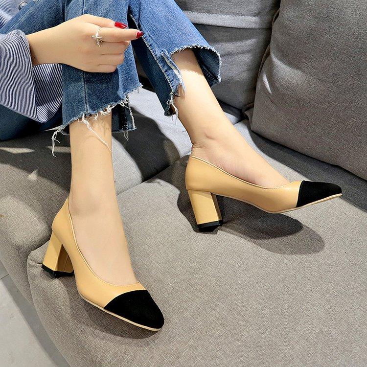 Bombas Cuero Mujeres Mujer Solo Alto De Negro 2019 Zapatos Grueso Las Otoño Nuevas Con beige Negro 5 Tacón Cm Dama qBtgFg