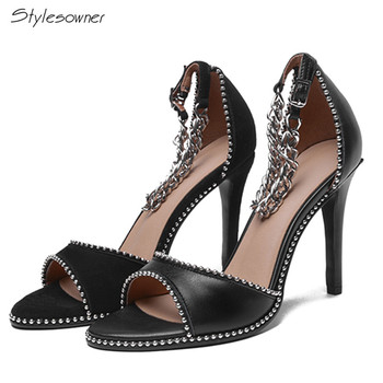 25a73d1b9 Stylesowner/2018 г.; пикантные туфли-лодочки на высоком каблуке с  металлической цепочкой и пряжкой; черные летние женские туфли с открытым  носком на.