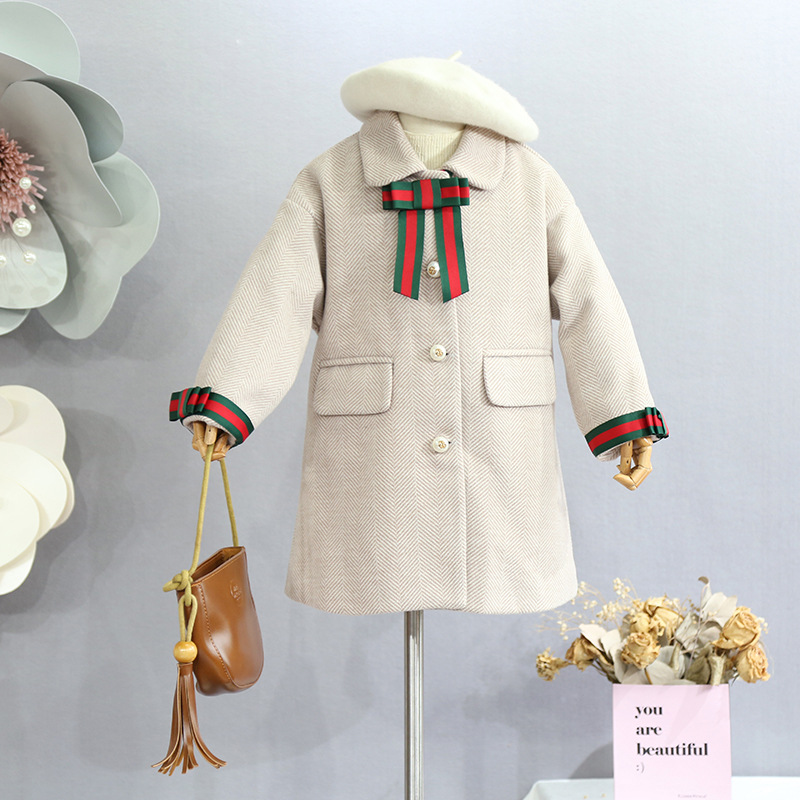 2018 autumn winter new girls' temperament contrast color ribbon decoration in the long version of the bow wool coat contrast bow flat sliders