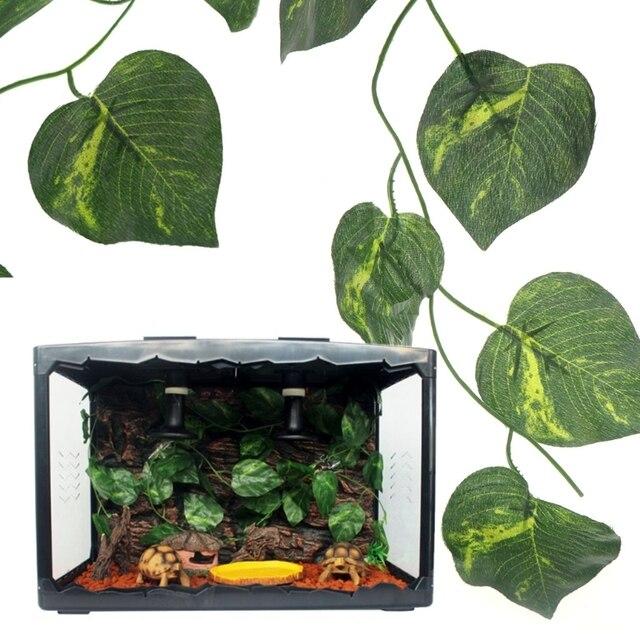 artificial vine reptile box case decoration lizard green leaves 2.4m