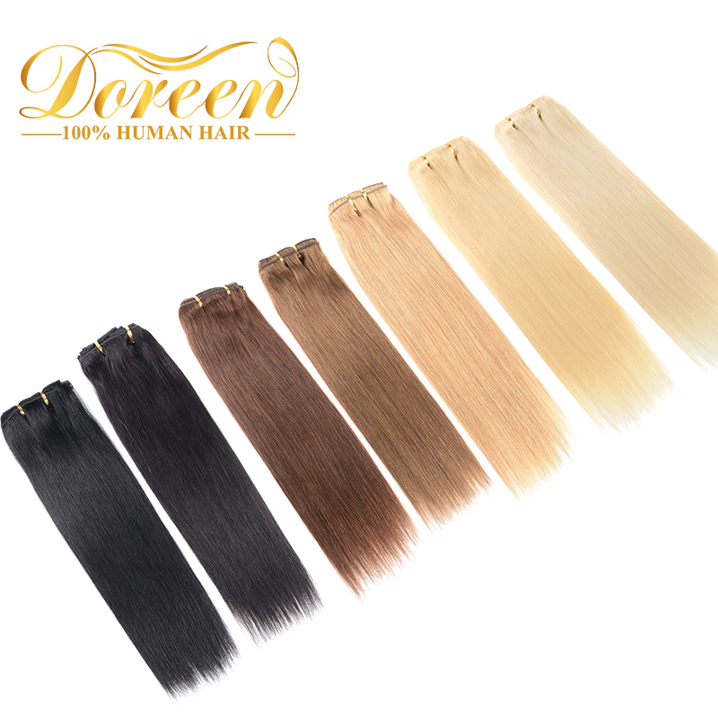 Doreen Full Head Sets Brazilian Remy Hair 7 Pcs/set Straight Human Hair Clip In Extensions De Cabello 14