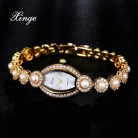 Xinge Women Gold Bracelet Watch Luxury Crystal Pearl Wristwatch Women Dress Zircon Watches Clock Sport Business
