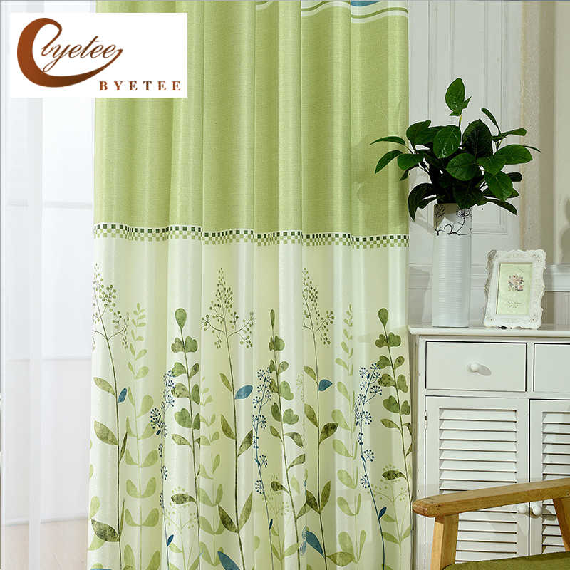 Byetee Bedroom Blackout Green Curtains Pastoral Printing Window