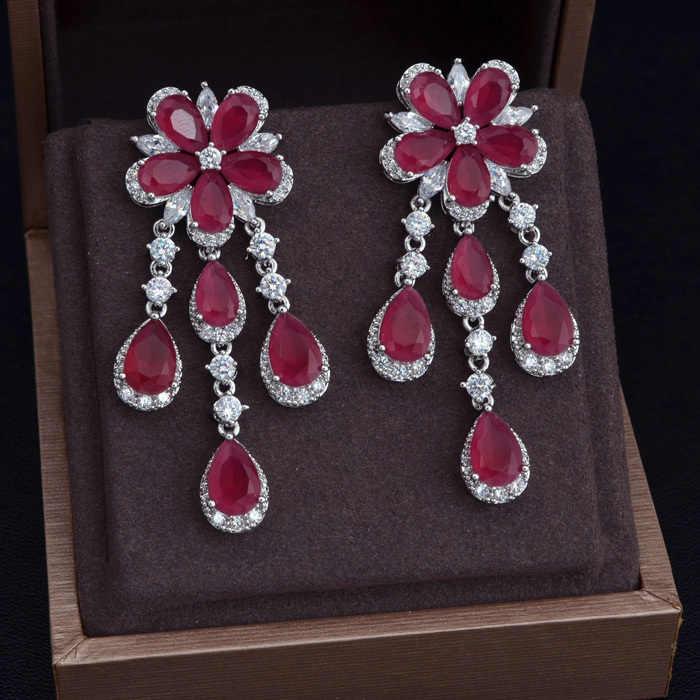 Jankelly ใหม่ Zircon ต่างหูสีขาว-สี Hot Pink Cubic Zircon ออสเตรีย Rhinestone ดอกไม้ Drop ต่างหูสำหรับผู้หญิง JP5045E