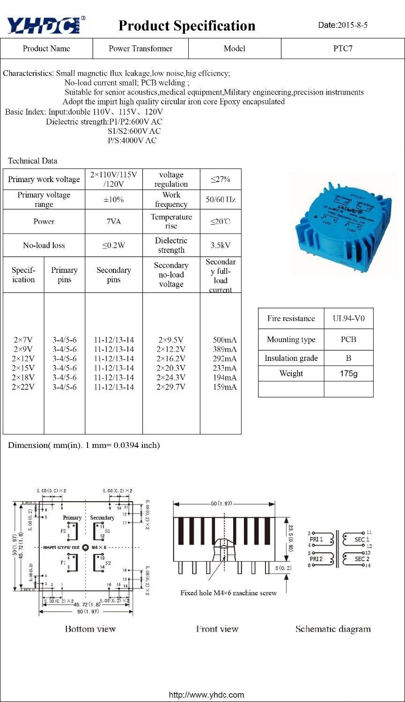 Buy Ptc7 For Audio Usage Power 7va 2110v 212v Diagram Of Welding Transformer Toroidal Encapsulated Pcb From Reliable