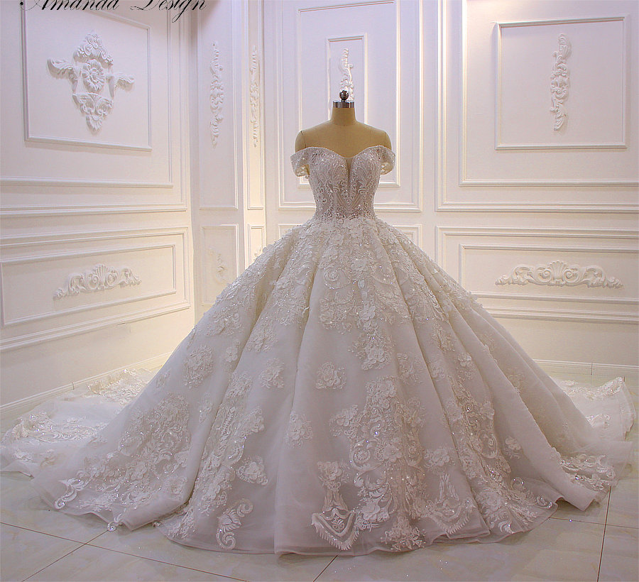 robe mariage Off Shoulder Short Sleeve Lace Appliques 3D Flower Luxury Wedding Dress