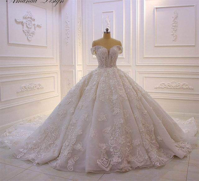 Robe mariage fora do ombro manga curta rendas apliques 3d flor vestido de casamento luxo