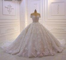 Vestido de boda de lujo de flores 3D con apliques de encaje de manga corta sin hombros