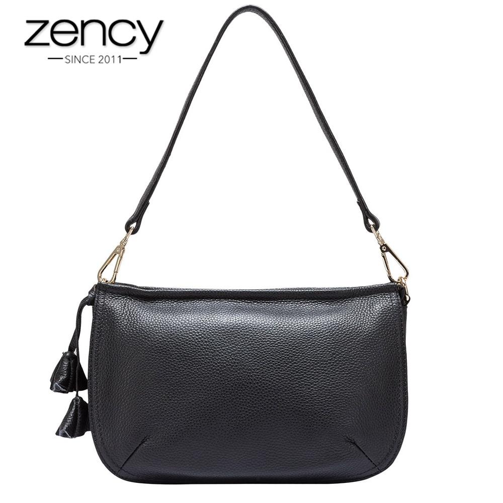 Zency Flower Decoration Fashion Women Shoulder Bag 100 Cowhide Genuine Leather Handbag Black Small Flap Female