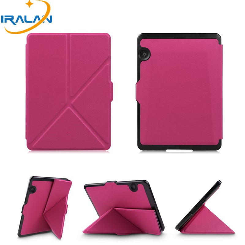2018 Luxury Smart slim Leather E-Book Cover for Amazon 2014 Kindle Voyage 6 Ereader Folding Protective Case+screen film+stylus 2014 slim