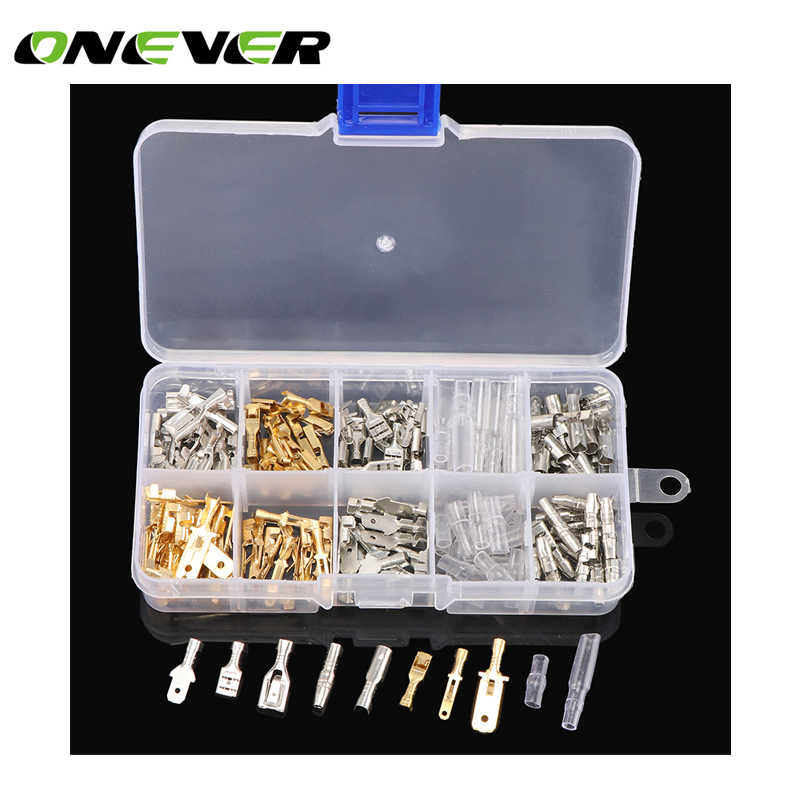 150pcs Male and Female Car Spade Connector Splice Crimp Wire Terminals Assortment Kit with Insulating Sleeve for Motorcycle Bike