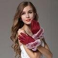 2016 Nova Moda das Mulheres Cinza Vermelho Outono Inverno Quente Luvas De Pele De Coelho Mais Quentes Casual Luva Luvas De Camurça Para Mulheres unidade