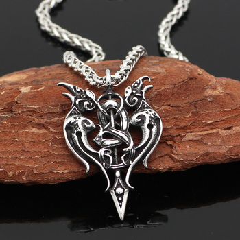 Viking Odin'S Raven Amulet In Thor'S Hammer Pendant Necklace  Viking Necklace
