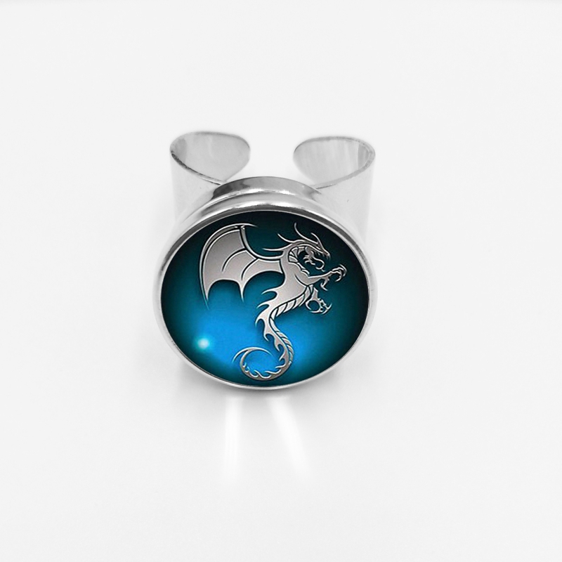 2019 Hot Dragon Flying Seahorse Pattern Glass Cabo Button Ring for Men and Women Open Ring in Rings from Jewelry Accessories
