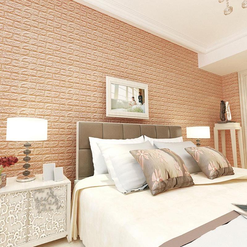 60 X 30cm PE Foam 3D Wall Stickers Safty Home Decor Wallpaper DIY Wall Decor Brick Living Room Kids Bedroom Decorative Sticker
