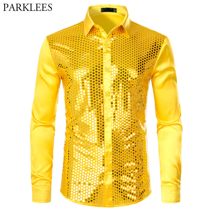 Erkek lüks pullu elbise gömlek uzun kollu ipek saten parlak disko parti gömlek erkekler Chemise sahne dans gece kulübü balo kostüm