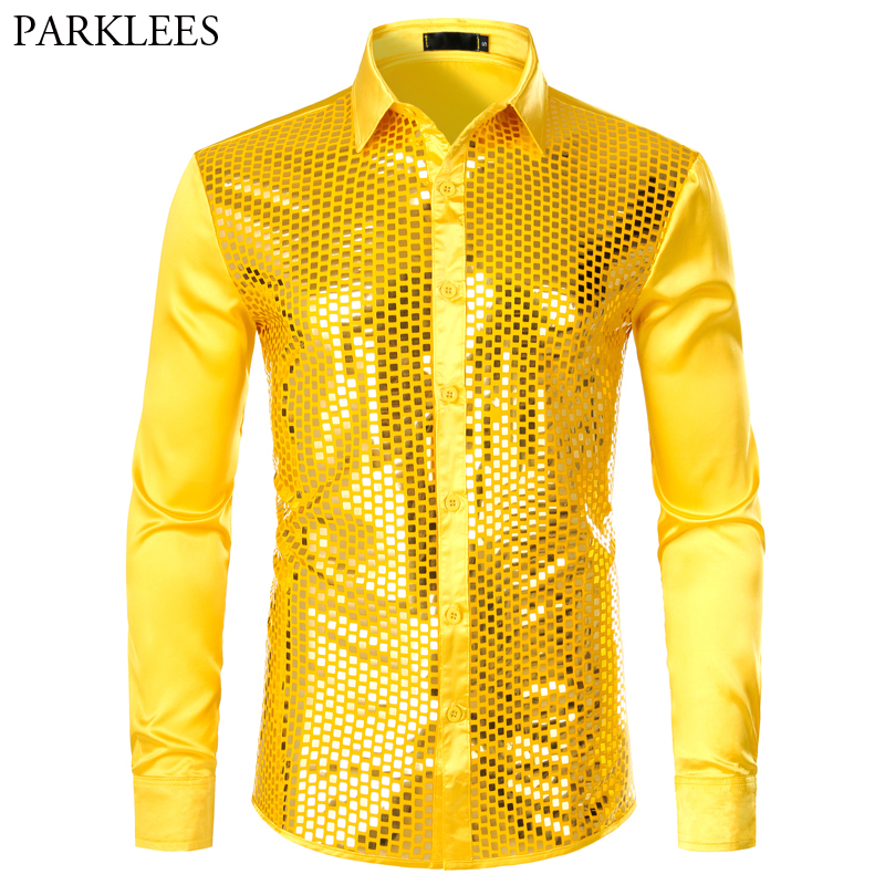 Men's Luxury Sequin Dress Shirts Long Sleeve Silk Satin Shiny Disco Party Shirt Men Chemise Stage Dance Nightclub Prom Costume