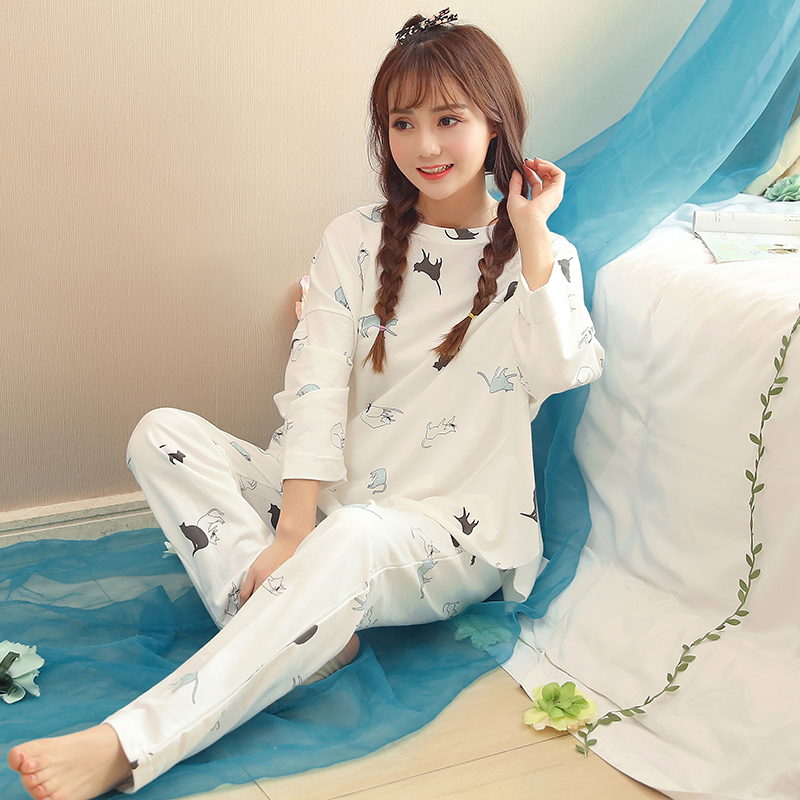 2018 New Women's   Pajama     Sets   White Spring Cute Cartoon Sleepwear Lady Casual Home Clothing