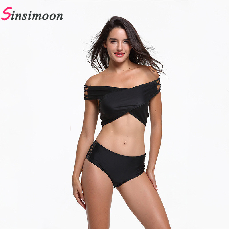 Sexy off should hollow out criss cross bikinis women Two pieces black swimsuit 2019 Spring summer swimwear bathing suit beach in Body Suits from Sports Entertainment