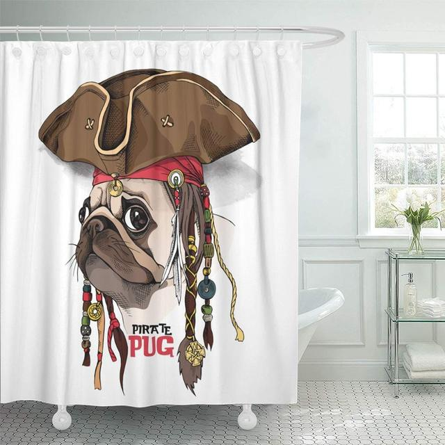 Shower Curtain Waterproof Adjustable Fabric Brown Dog Portrait Of Pug In Pirate Hat Bandana Dreadlocks Fun Party Head Funny