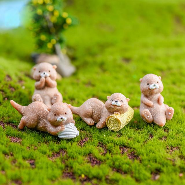 4pcs Artificial Resin Otters Model Animal action Figures home Garden Dollhouse Decoration DIY kids educational toys for children