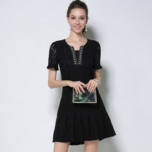2017 New Summer Women Lace Plus Size Dresses Handmade Bead Black Elegant Dress Lady Party Large Size Woman Clothing M-5XL
