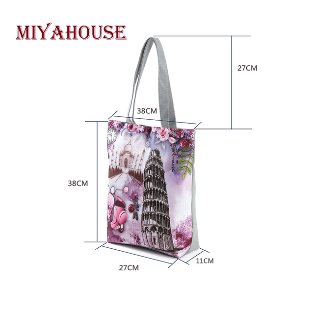 Candy Color Shoulder Bags Female Canvas Tote Handbags Fashion Tower Printing Beach Bag For Women Shopping Bag 3