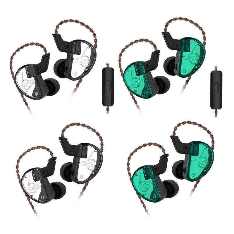 Filaire dans l'oreille écouteur 6 unités Armature équilibrée pilote HIFI basse moniteur écouteurs écouteurs avec/sans micro pour téléphone intelligent
