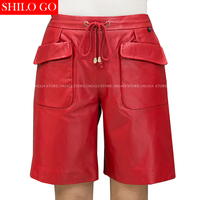 SHILO GO Fashion Street Women Empire loose waist tassel Belt Front Pocket casual Sheepskin Genuine Leather Shorts Ladies Shorts