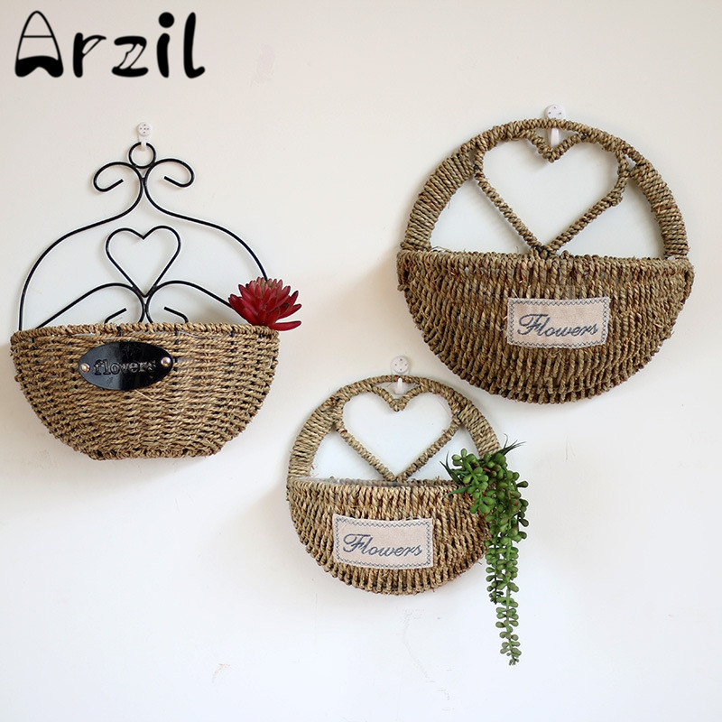 Rattan Flower Baskets : Rattan hanging heart basket storage container flower
