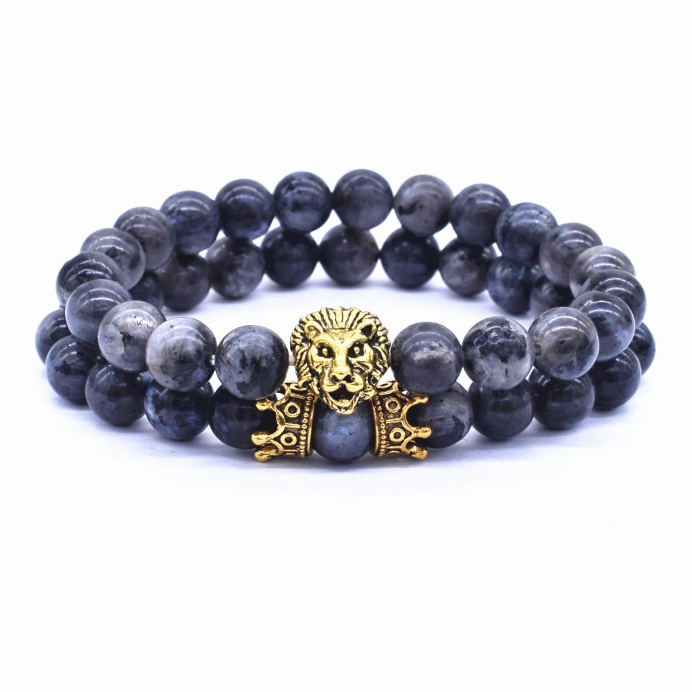 2 Pcs / Set Vintage Lion Head and Crown Charm Bracelet 8mm Natural Lava Stone Beads Bracelet Men 2019 Fashion Jewelry