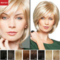 MAYSU Sophisticated Side Parting Layered Short Human Hair Wigs For Women  Brazilian Virgin Hair Blonde wig Capless Glamorous