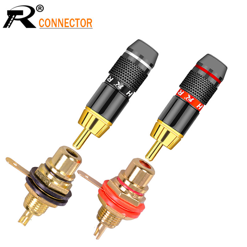 2Sets/lot RCA Connectors 2pcs RCA Male Plug + 2pcs RCA Female Jack Socket Panel Mount Soldering Speaker Plug Jack Chassis