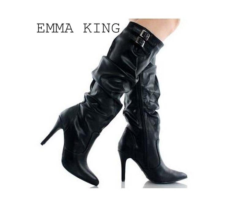 2018 über Das Knie Stiefel Schwarz Sexy Für Winter Frauen Schuhe Wies Hohe Schuhe Schnee Oberschenkel Hohe Stiefel Casual Euro 35 #-43 # AusgewäHltes Material