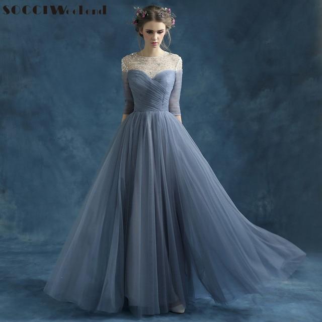 SOCCI Weekend Regular Sleeve Draped Evening Dresses Sweetheart Pleated Top  Long robe de soiree Vestido Beading O-neck Prom Dress b1865bddccc7
