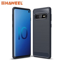 HAWEEL Phone Cover For Samsung Galaxy S10 Brushed Texture Carbon Fiber TPU Phone Case